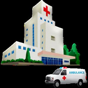 病院と救急車のイラスト