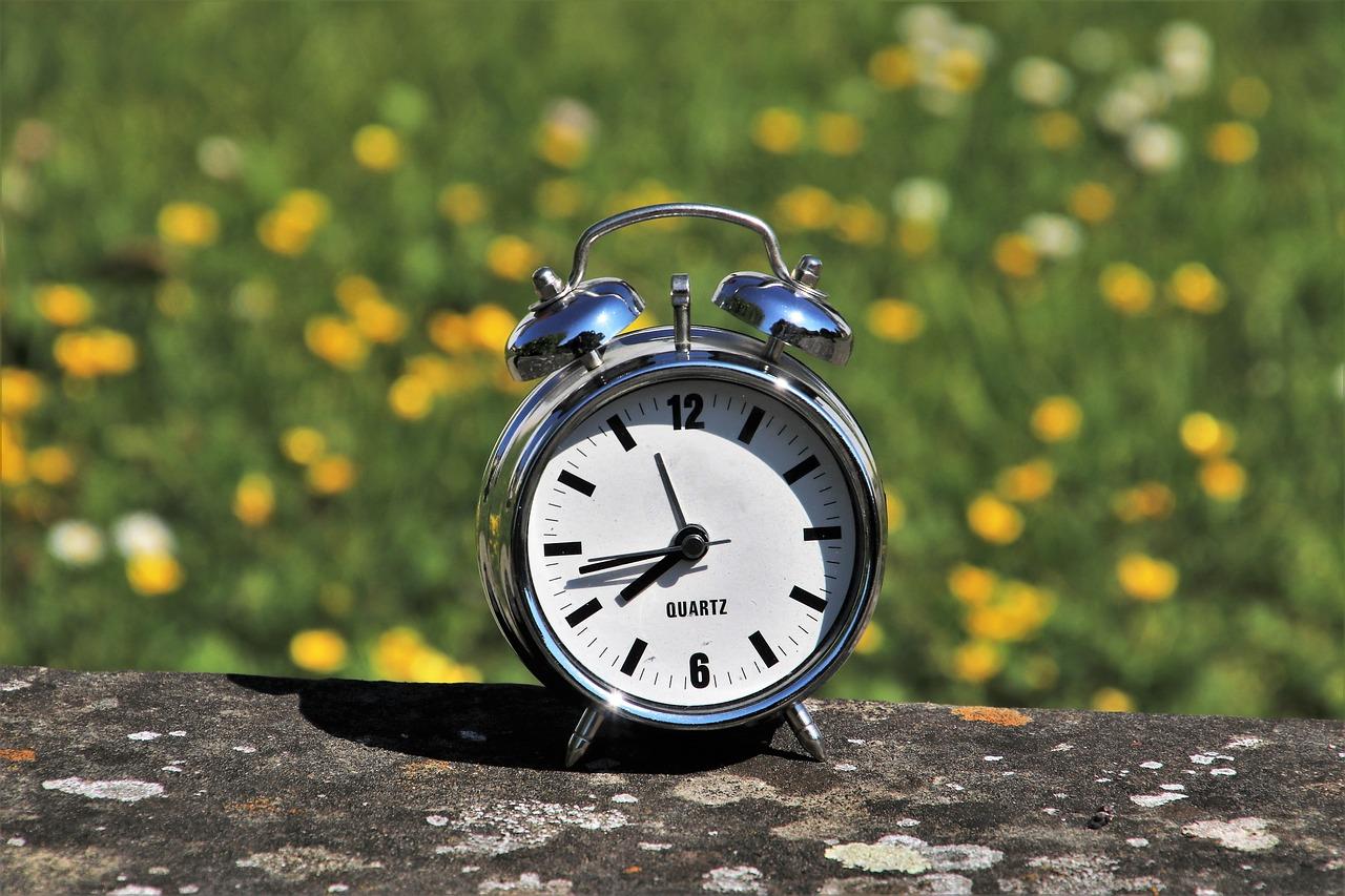 時計と花畑
